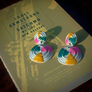 Vtg 80s Double Disk Resin Drop Neon Paint Earrings